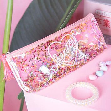 Sweet PVC Transparent Sequin Makeup Bag Pouch Tassel Bag Cosmetic Wash Stationery Zipper Pen Pencil Case