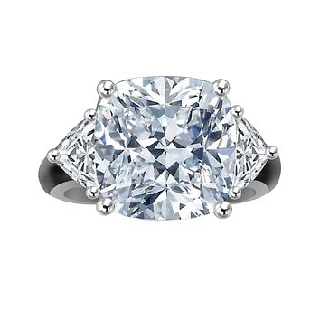 10 CT.(12x12mm) Intensely radiant Cushion square Center Diamond Veneer Cubic Zirconia set in Solid 14K Gold Ring. 635R71199k