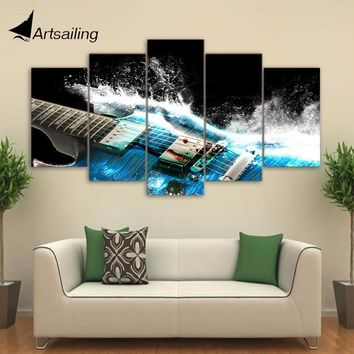 5 Pieces Canvas Art Painting Printed Abstract guitar Wall Art Print Canvas