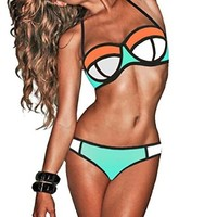 Color Joint Neoprene Wet Suit Bikini Set Swimsuit Swimwear