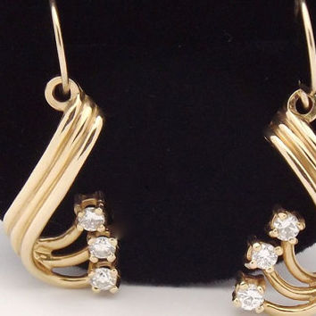 Vintage 14K Diamond Earring Jackets/ Yellow Gold