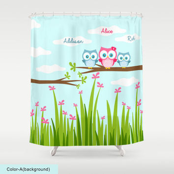 Custom Kids Shower Curtain,Choose Fonts Style,Monogram,Little Owls Art,Custom Names,Baby,Kids Bathroom Art Decor,Polyester,Printed in USA