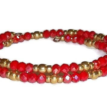 Shimmering Red Opaque Swarovski Crystals & Gold Glass Bead Artisan Crafted Stackables Bracelet (S-M)