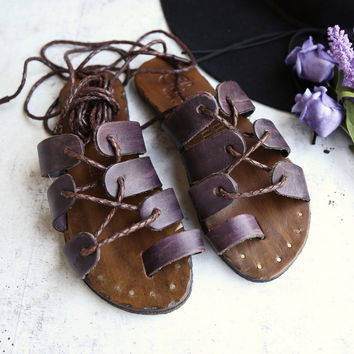 sbicca vintage - womens ankle wrap marmand brown leather sandals