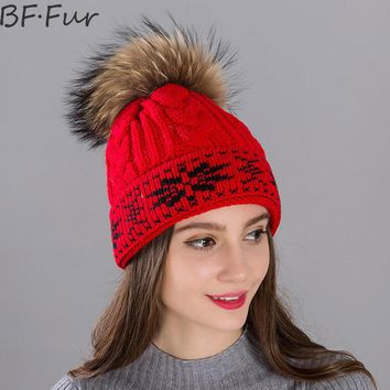 BFFUR Black Real Raccoon Fur Beanies Hats For Women Winter Warm Hats Autumn Natural Color Animal Pompom Cap Snowflake Knitted