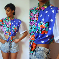 Vtg Sheer Sleeves Mixed Prints Waist Tie Button Up Crop Top