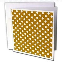 InspirationzStore Polka Dot Designs - White Polka Dots on Chocolate Brown - Retro elegant ladylike dot pattern - 12 Greeting Cards with envelopes (gc_56696_2)