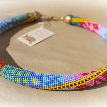 The Rainbow beaded rope necklace - Bead crochet necklace with geometric pattern - Beaded rope necklace - Handmade jewelry - Patchwork