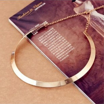 Fashion Making simple shape metal texture collar necklace (narrow version of gold)