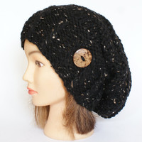 Black Tweed slouch hat women - beanies hat - Slouch Beanie - Large hat - chunky hat - Chunky Knit Winter Fall Accessories , Slouchy hat