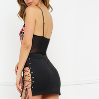 Cross Me Out Skirt - Black