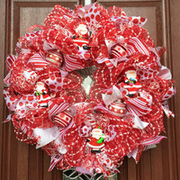 Christmas Wreath, Red White Deco Mesh Christmas wreath, Santa wreath, Santa Claus Saint Nick holiday decor xmas wreath