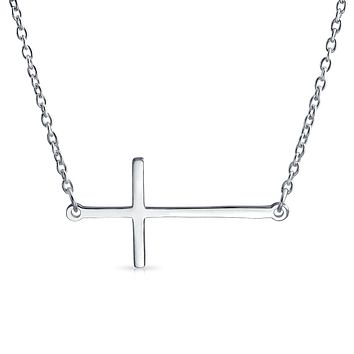 Sideways Cross Necklace Pendant 925 Sterling Silver Rose Gold Plated
