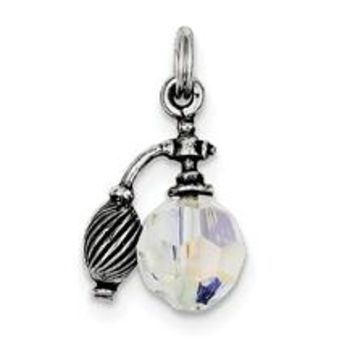 Antiqued Perfume Bottle Charm in Sterling Silver