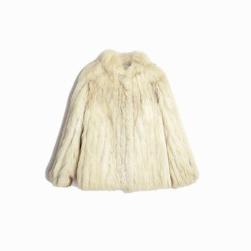 Vintage 70s White Rabbit Fur Coat / 70s Ivory Fur Coat / Winter Wedding Coat - women's small