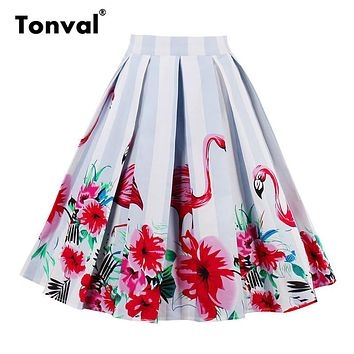 Tonval Pleated Skirts Womens Summer Flamingo Swing Skirt 2017 Scenic Mountain Gorgeous Print Faldas Vintage Floral Midi Skirt
