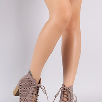 Qupid Perforated Lace-Up Chunky Heeled Booties