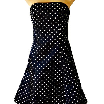 Jessica McClintock Polka Dot Dress Gunne Sax Strapless Tulle Netting