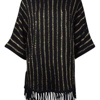 NY Collection Women's Sequined Fringed Knit Dolman Sweater