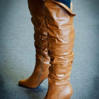 ForeverLink Focus-33 Tan Over The Knee Slouchy Boot - Shoes 4 U Las Vegas