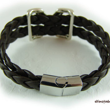 leather wrap bracelet for men dark brown silver stainless steel - nappa braided men's bracelet - nearly black - for him