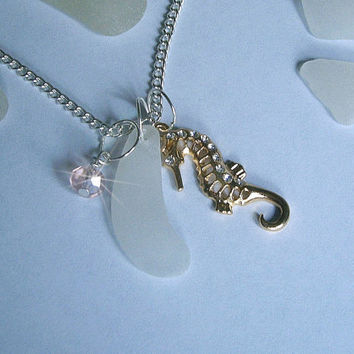 Seahorse necklace - Sea glass jewelry - beach sea glass necklace.