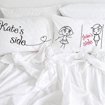 Personalized couple pillow His Her Couple pillowcases My side your side boy and girl Couple Valentine's gift idea for him her couple gift