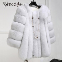 Women Faux Fox Fur Coat 2016 Winter Fashion thickening warm outwear fur coats jackets elegant High Quality Imitate Fur Overcoat