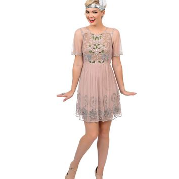 1920s Style Blush Pink & Green Hand Beaded Floral Faris Flapper Dress