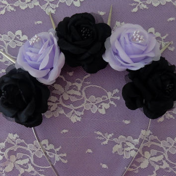 Maleficent Flower crown- Black and purple fabric roses with center beads and silver spilkes