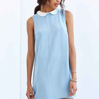 BDG Collared Chambray Shift Dress- Light Blue