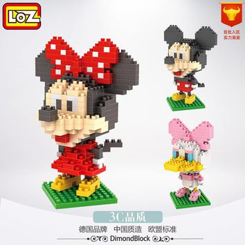 LOZ Diamond Blocks Doll Mickey Minnie Mouse Donald Daisy Building Blocks no retail box early Educational Action Figure Toys kids