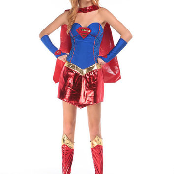 New Supergirl Costume Women Superhero Cosplay Adult Sexy Fancy Dress Superman Costume Cosplay Gown Clothes shawl,gloves,Jiaotao