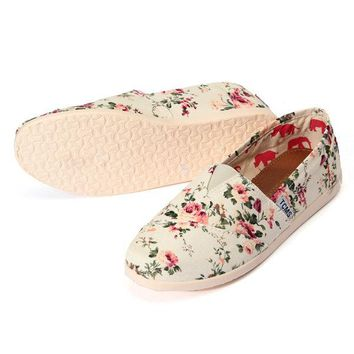 Floral Female Single Shoes Leisure Canvas Flat Heel Shoes