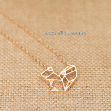 Squirrel Necklace - gold; dainty, cute and lovely pendant jewelry; animal necklace