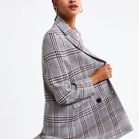 PLAID DOUBLE BREASTED COAT