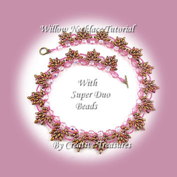 PDF Tutorial Willow Necklace with Super Duo beads, beading pattern.