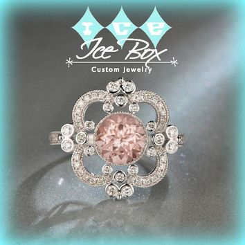 Morganite Engagement Ring ~ 1.5ct, 7.5mm Round Peachy Pink Morganite in a 14k White Gold Halo Art Deco Nouveau Vintage Antique