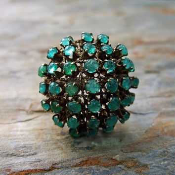 Large 14k Gold Natural Emerald Cluster Cocktail Ring - Cage Statement Piece - Geodesic Dome Ring