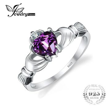 JewelryPalace Heart Natural Amethyst Irish Claddagh Ring Solid 925 Sterling Silver Women Engagement Jewelry February Birthstone