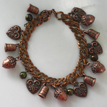 Thimble and Acorn Kisses Bracelet - Lost Boys Bracelet Peter Pan and Wendy in Warm Copper Tone