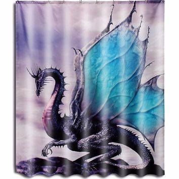 3D Printed Dragon Waterproof Shower Curtain