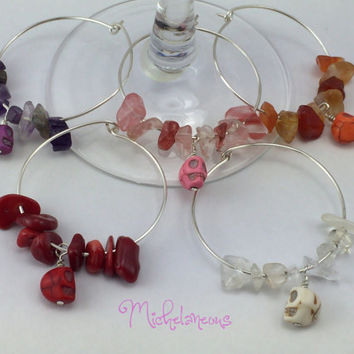 Set of 5 Wine glass Charms with Skull Beads and Semi Precious Gemstones, Beaded Silver Plated Wine Glass Markers, Wine Lover Party Favors