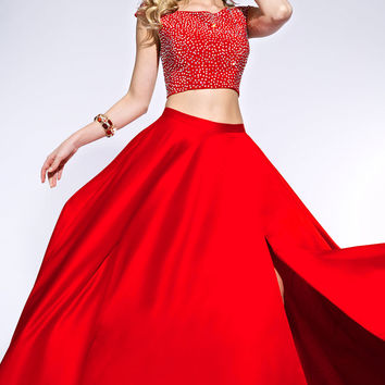 Jovani 25464 In Stock Red Size 4 Two Piece Satin Jeweled Prom Dress SALE