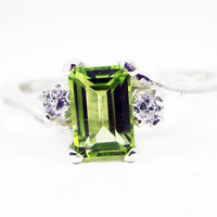 Peridot and CZ Accent Ring Sterling Silver, August Birthstone Ring, Peridot Gemstone Ring, Peridot CZ Ring, Accent Ring, 925 Sterling Ring
