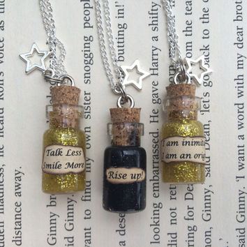Hamilton Musical inspired Rise Up , Talk Less Smile More Bottle Necklace / Pendant / Bookmark / Earrings / Decoration / Keyring
