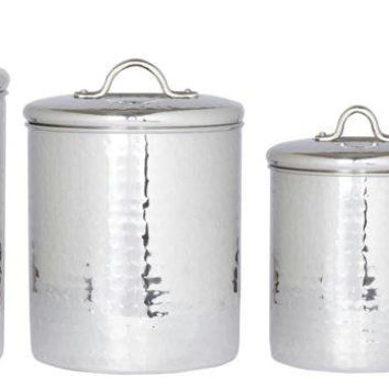 4 Pc. Stainless Steel Hammered Canister Set w-Fresh Seal Covers 4-2-1.5-1Qt
