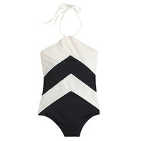 J.Crew Womens Chevron Halter One-Piece Swimsuit