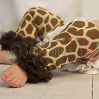 Brown & Cream Giraffe Print with Brown Chiffon Ruffle-Girraffe Birthday-Cake Smash-Animal Print Leg Warmers-Tu Tu Leg Warmers