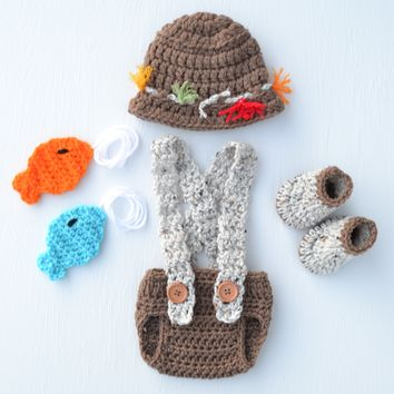 Medium Brown Newborn Fishing Outfit Baby Fishing Photography Prop